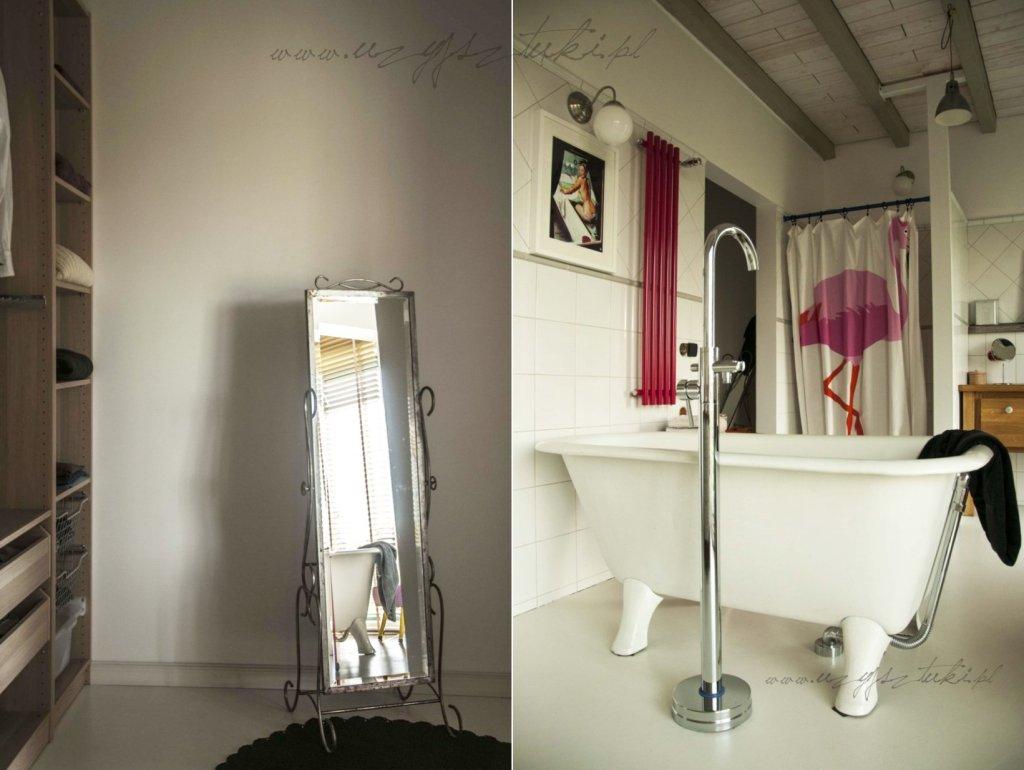 łazienka i garderoba przy sypialni w siedlisku